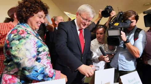 Prime minister Kevin Rudd casts his vote in the Australian election.  Photograph: Peter Barnes/Reuters