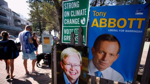 Election posters on polling day in Sydney. Photograph: David Gray/Reuters
