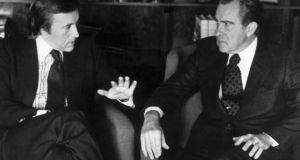 David Frost, left, talks with former US president Richard Nixon. Photograph: AP