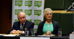 Senator Feargal Quinn and Senator Catherine Zappone at the launch of Democracy Matters, which is campaigning against the abolition of the Seanad,  at Smock Alley Theatre in Dublin. Photograph: Cyril Byrne/The Irish Times