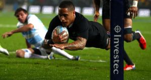 New Zealand's Aaron Smith  scores a try during the Rugby Championship victory over  Argentina at Waikato Stadium  in Hamilton, New Zealand. Photograph: Phil Walter/Getty Images