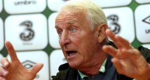 Republic of Ireland manager Giovanni Trapattoni makes his point at Saturday's press conference at Gannon Park in Malahide. Photograph: Donall Farmer/Inpho