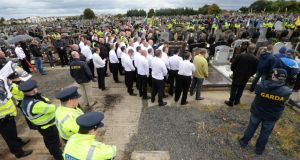 There was a strong Garda presence at the Alan Ryan commemoration march. Photographer: Dara Mac Dónaill/The Irish Times