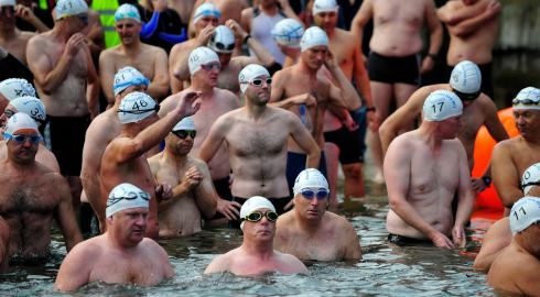 Participants in this years Dun Laoghire Harbour swim prepare to start.  Photo: Aidan Crawley