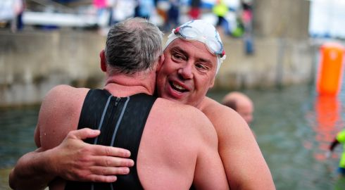 Swimmers pictured at the end of the Dun Laoighre Harbour swim which took place on Sunday. Photo: Aidan Crawley