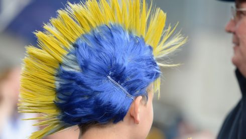 A Clare fan at the  Cork V Clare All Ireland   Hurling final  for the Liam Mc Carthy Cup, yesterday at Croke Park. Photo: Cyril Byrne   / THE  IRISH TIMES