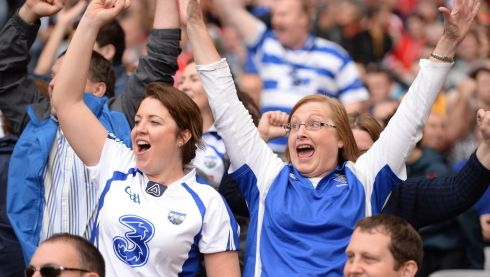 Waterford supporters celebrate the winning of  The Irish Press cup in the minor final  yesterday at Croke Park. Photo: Cyril Byrne   / THE  IRISH TIMES