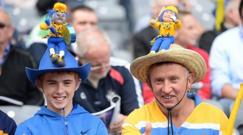 Jonathon King with his father Johnny King from Kilfenora, Co Clare  yesterday at Croke Park. Photo: Cyril Byrne   / THE  IRISH TIMES