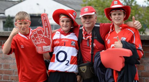 From left :  Michael Nunan, Cillian Martin, Richard Nunan and Ben Nunan. Spurhill, Cork going to All-Ireland senior hurling final at Croke Park. Photo: Dara Mac Dónaill / THE IRISH TIMES