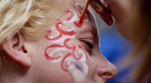 Cork fan Elaine Buckley get her face painted. Photo :INPHO/Dan Sheridan