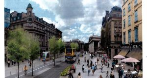 An artist's impression of Westmoreland Street in Dublin as it would look following the reconfiguration of city centre traffic proposed by the National Transport Authority.