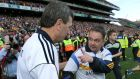 Cork manager Jimmy Barry Murphy shakes hands with Clare manager Davy Fitzgerald after the game. Photograph:  Morgan Treacy/Inpho