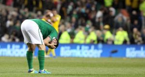 A  dejected Robbie Keane after the Sweden game. Photograph: Inpho/Kieran Murray