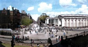 Artist's impression of College Green in Dublin following reconfiguration.