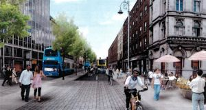 Artist's impression of D'Olier Street in Dublin reconfigured as a two-way street.
