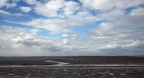 A general view over The Wash after high tide at the RSPB's Snettisham Nature reserve in England. Photograph: Dan Kitwood/Getty Images