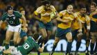 Lote Tuqiri in action for Australia against Ireland in 2008.  Photograph: Cameron Spencer/Getty Images