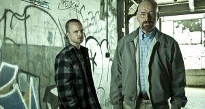 Jesse Pinkman (Aaron Paul) and Walter White (Bryan Cranston) from season five of Breaking Bad. Photograph: Frank Ockenfels/AMC