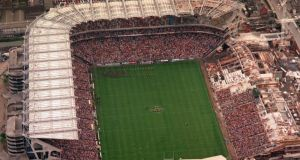 An aerial view of  Croke Park on  All-Ireland hurling final day in 2000, when Kilkenny met Offaly, yet another occasion  when the attendance was less than the football equaivalent that year, when Kerry beat Galway, after a replay. Photograph:   David Maher/Sportsfile