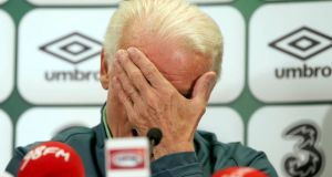 Republic of Ireland manager Giovanni Trapattoni considers an answer during yesterday's press conference at Ernst Happel Stadion in Vienna, where his team will face Austria in a  World Cup qualifier. Photograph: Donall Farmer/Inpho