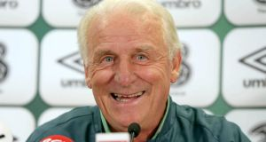 Republic of Ireland manager Giovanni Trapattoni was in jovial form at yesterday's press conference in Vienna ahead of tonight's World Cup qualifier  against Austria. Photograph: Donall Farmer/Inpho