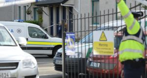 Gardai at the scene at Marina Village in Arklow this morning. Photograph: Cyril Byrne/The Irish Times