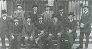 MOMENT OF HARMONY – Executive of the Irish Trade Union Congress and Labour Party at the 1914 congress when the Labour Party's constitution was agreed. Standing (from left): James Connolly, William O'Brien, MJ Egan, Thomas Cassidy, WE Hill, Richard O'Carroll. Seated: Thomas MacPartlin, DR Campbell, PT Daly, James Larkin, MJ O'Lehane. Connolly and O'Carroll would die in Easter Week  in 1916. Connolly's   friend O'Brien's, co-founder of ITGWU and later TD, involved in bitter split with Larkin   and   ally PT Daly which would divide the labour movement for decades.