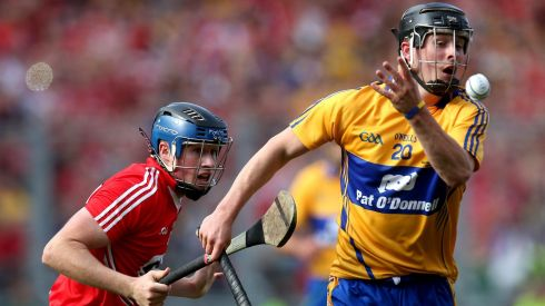 Cork's Conor Lehane and Nicky O'Connell of Clare. Photograph: Ryan Byrne/INPHO