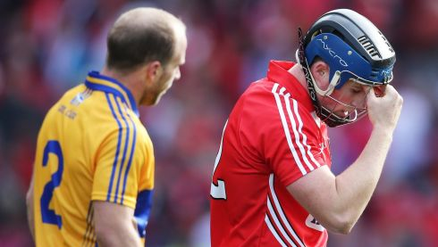 A dejected Conor Lehane of Cork after the final whistle. Photograph: Cathal Noonan/INPHO