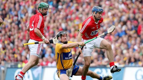Clare's Colin Ryan and Christopher Joyce of Cork. Photograph: James Crombie/INPHO