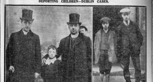 Fr fleming and Fr McNevin with the boy George Burke. Thomas and James McMahon - Freeman's Journal, 25th October, 1913  Courtesy Dublin City Library