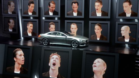 The new Mercedes S-Class Coupe concept car is presented by an multimedia show at the IAA international automobile show in Frankfurt, Germany. Photograph: Thomas Lohnes/Getty Images