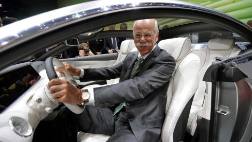 Chairman of the board of german auto giant Daimler AG Dieter Zetsche presents the new Mercedes S-Class Coupe concept car. Photograph: Thomas Lohnes/Getty Images