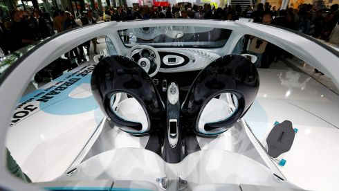 A Smart Fourjoy concept car is pictured during a media preview day at the Frankfurt Motor Show (IAA) today. The world's biggest auto show is open to the public September 14 -22nd.   Photograph: Kai Pfaffenbach/Reuters