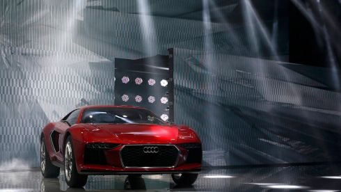The new Audi Nanuk is presented during a media preview day at the Frankfurt Motor Show. Photograph: Wolfgang Rattay/Reuters