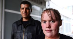 Bernadette Mills and Khalid Lamii, who are now living in a one-bedroom apartment in Avocal House, a homeless hostel in Temple Street West, assisted by  Focus Ireland. Photograph: Cyril Byrne.