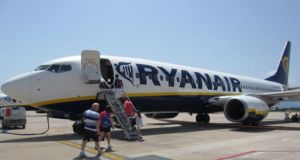 By noon Ryanair  was up more than  four 4 per cent, but fell back in the last half hour of trading