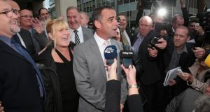 Michael Le Vell, who plays Kevin Webster in the TV soap 'Coronation Street', makes a statement to the press after being found not guilty at Manchester Crown Court for alleged child sex offences. (Photograph: Christopher Furlong/Getty Images