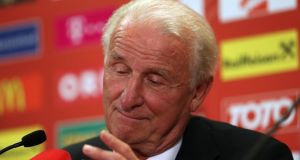 Giovanni Trapattoni during his post-match press conference in Vienna this evening. Photograph: Donall Farmer/Inpho