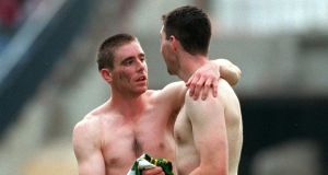 Myself and Galway's Seán Ó Domhnaill exchange shirts after the drawn All-Ireland final in 2000. Photograph: Lorraine O'Sullivan/Inpho