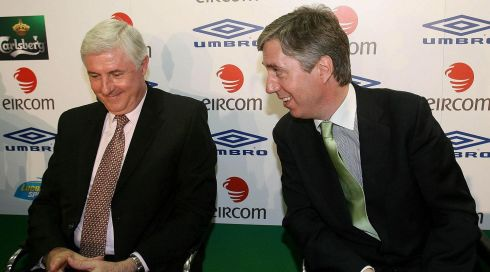 Selector Don Givens (left) and chief executive of the FAI, John Delaney, during a press conference to announce the appointment of Giovanni Trapattoni as new Republic of Ireland manager. Photograph: Niall Carson/PA Wire