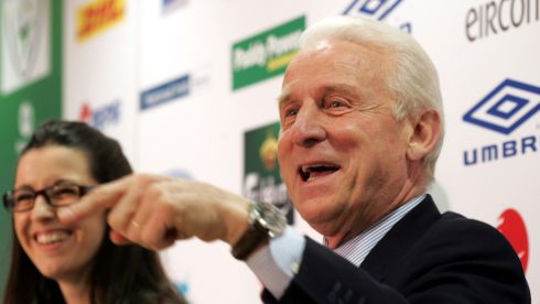 Trapattoni names his 28-man squad in May 2008 at FAI HQ in Abbotstown with his interpreter Manuela Spinelli. Photograph: Eric Luke/The Irish Times