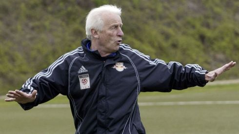 Red Bull Salzburg's coach Giovanni Trapattoni gestures during a training session before the last home match of the season in Salzburg on April 18th, 2008, before leaving to manage Republic of Ireland. Photograph: CalleToernstroem/Reuters