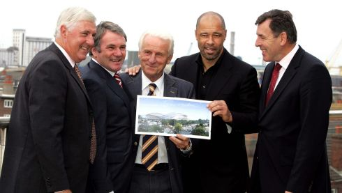 Don Givins, Irish U21 manager; former Irish team member Ray Houghton, Trapattoni, Paul McGrath and Packie Bonner at the launch of the FAI's premium level seats in the new Lansdowne Road Stadium in September 2008. Photograph: David Sleator/The Irish Times