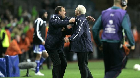 Trapattoni with Marco Tardelli after the Republic of Ireland v Cyprus World Cup qualifier at Croke Park, Dublin in October 2008. Photograph: Dara Mac Dónaill
