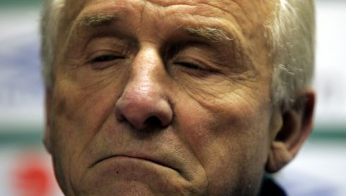Trapattoni expressing his feelings at a press conference after a Republic of Ireland training session at Gannon Park in November 2008.Photograph: Eric Luke/The Irish Times