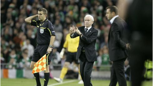 Trapattoni during the Republic of Ireland v Armenia Euro 2012 Qualifer at the Aviva Stadium, Dublin in October 2011. Photograph: Dara Mac Dónaill/The Irish Times