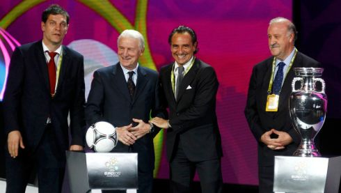 Head coaches of teams in Group C (left to right) are Croatia's Slaven Bilic, Trapattoni, Italy's Cesare Prandelli and Spain's Vicente del Bosque after a draw for the Euro 2012 soccer championship at the Palace of Arts in Kiev, Ukraine.  Photograph: Kai Pfaffenbach/Reuters