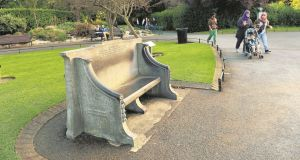 The seat on St Stephen's Green dedicated to Anna and Thomas Haslam.