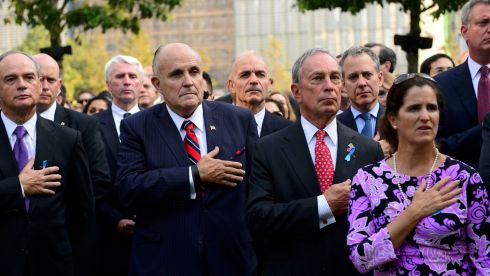 Former Mayor Rudy Giuliani (2nd L) and New York City Mayor Michael Bloomberg (2nd R) attend a ceremony marking the twelfth anniversary of the attacks on the World Trade Center in New York on September 11, 2001. Photograph:  David Handschuh/Reuters